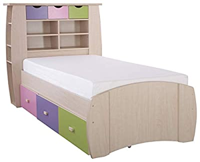 Sydney 3ft Cabin Bed with 3 Drawers - Large Storage Headboard with Shelves and Drawers- Pink or Blue Childrens Furniture (Pink) by Right Deals UK