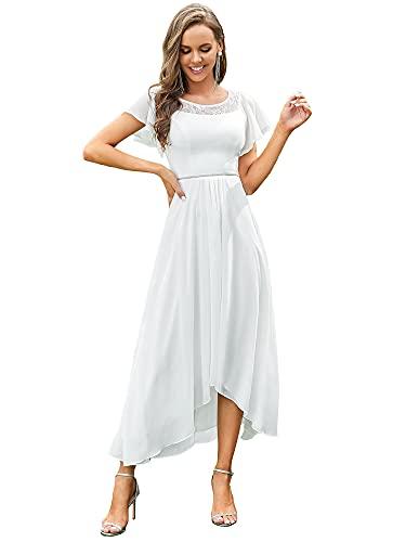 Ever-Pretty Vestido de Novia Largo para Mujer Alto Bajo Escote Redondo Manga...