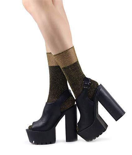 Mixmi Boutique Damen Glitzer Lurex Glänzende Kleid Party Gold Socken