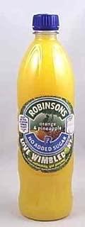 Robinsons Orange & Pineapple No Sugar. 12 X 1 Liter