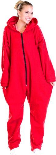 PEARL basic Kuschelanzug: Jumpsuit aus flauschigem Fleece, rot, Größe S (Pyjama)