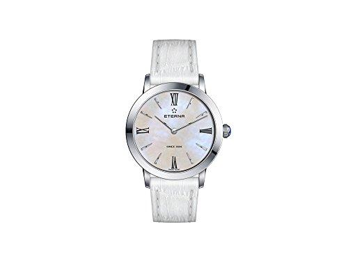 Eterna Eternity Lady Quartz Uhr, ETA 955.112, 32mm, Weiss Perlmuttern, Lederband