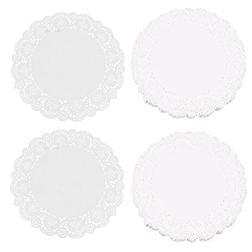 Hemoton 2 Bolsas de 360 Piezas de Papel Redondo de Encaje Tapetes Blancos Tapetes de Papel para Postres Papel a Prueba de Grasa para Pasteles de Cumpleaños de Boda