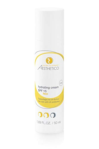 AESTHETICO hydrating cream SPF 15 (50 ml) - Intensiv hydratisierende Tagespflege für feuchtigkeitsarme und empfindliche Haut, mittlerer UV-Schutz