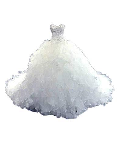 CoCogirls Luxus Wulstig Brautkleid Prinzessin-Kleid Hochzeitskleid Schatz Korsett Organza Kathedrale Kirche Ballkleid Hochzeitskleider (38, Weiß)