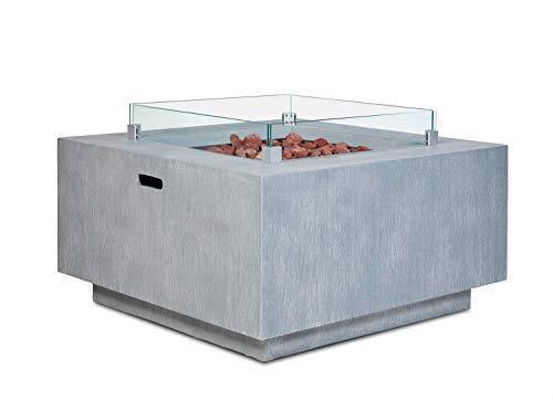 intergrill Gasfeuerstelle TM18012 Designer Fire Pit Feuertisch für Garten mit Laversteinen Glas Steinoptik Quadratisch