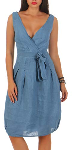 Malito Damen Leinenkleid im Klassik Design | Elegantes Cocktailkleid | schickes Abendkleid | Partykleid - A Linie 8147 (Jeansblau, S)