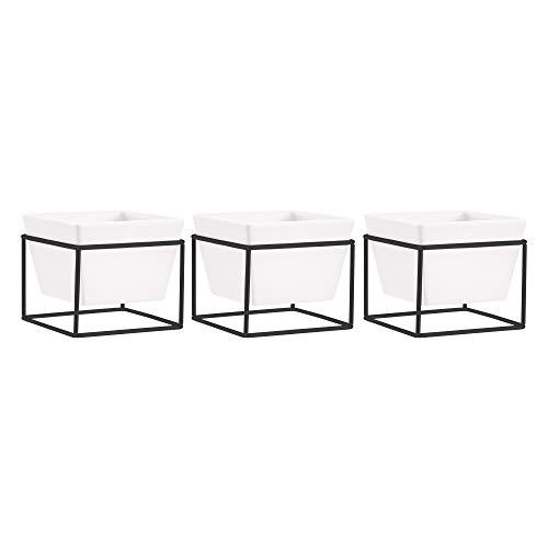 AmazonBasics Pflanztopf für den Tisch, quadratisch, Weiß / Schwarz, 3 Stück