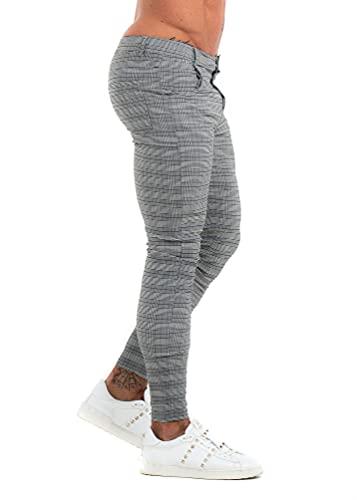 MG MORENGAR Pantalon Lyon Chino Ajustado y Elegante en Color Gris Cuadros para Hombre – Pantalones de Vestir de Ajuste Cintura a Tobillos. Pantalon Chino de Cuadros elásticos