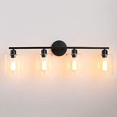 4-Light-Industrial-Bathroom-Vanity-Light Hardwire Industrial Glass Wall Sconce, Vintage Edison Wall Lamp Light Fixture for Bathroom, Dressing Table, Vanity Table