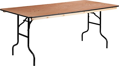StarSun Depot 36' x 72' Rectangular Wood Folding Banquet Table with Clear Coated Finished Top 36' W x 72' D x 30' H