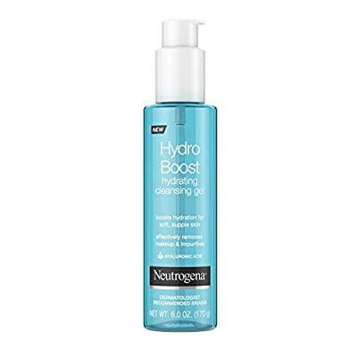 Neutrogena Hydro Boost Lightweight Hydrating Facial Cleansing Gel for Sensitive Skin, Gentle Face Wash & Makeup Remover with Hyaluronic Acid, Hypoallergenic & Non Comedogenic, 6 oz