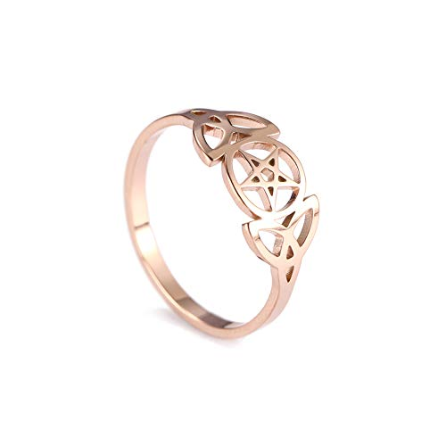 VASSAGO Rose Gold Tone Stainless Steel Trinity Celtic Knot Pentagram Rings Hollow Out Design Geometry Round Star Amulet Charm Bands for Men Women Teens (Size 7 (US Standard))