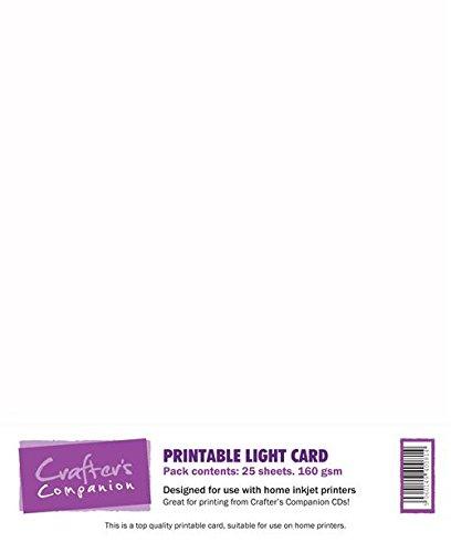 Crafter's Companion LIGHTCARD Scheda Stampabile 25 Fogli, Printable Card, Sheets, unità