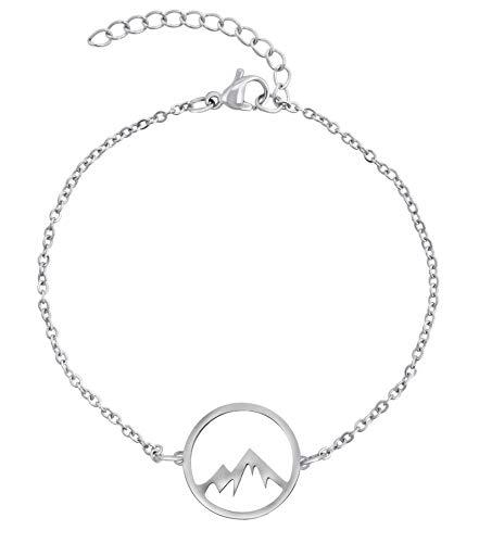 Nuoli® Berg Armband Damen Silber (15 + 5cm verstellbar) Bergarmband für Frauen & Mädchen, Armkette aus Edelstahl mit Berg Anhänger