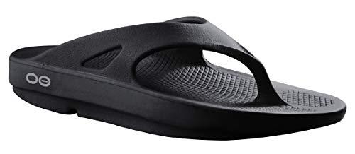OOFOS Unisex Original Thong flip flop , Black, 10 M US Women...
