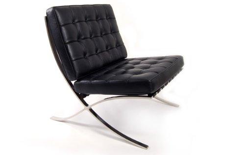 Iconic Interiors Barcelona Stuhl in Voller anilines Italienisches Leder Bauhaus Schwarz
