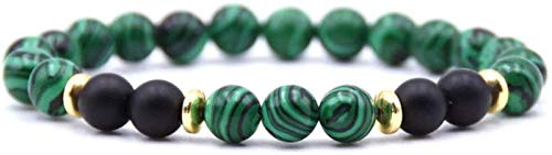 SUCICI Pulsera de Piedra Mujeres, 7 Chakra Natural Verde Franja de Piedra Brazalete elástico Yoga Afortunado Pulsera de Oro joyería de aro para Damas Regalo de Pareja de Navidad