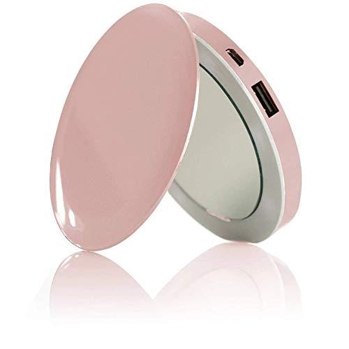 HYPER Perla compone el Espejo Compacto y USB Batería Recargable - Rose