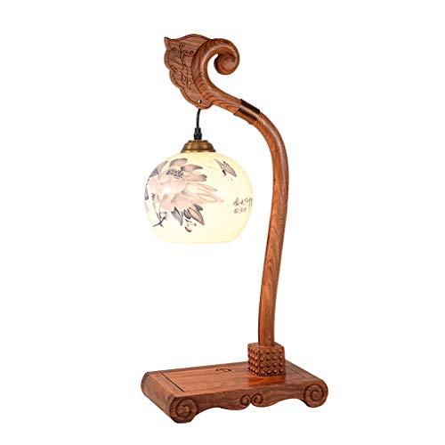 ECSWP TVDCC Caoba Estilo Chino Sala de Estar Estudio Dormitorio lámpara de Mesa cerámica Madera sólido cálido luz clásico Retro Nuevo Chino mesita de Noche lámpara