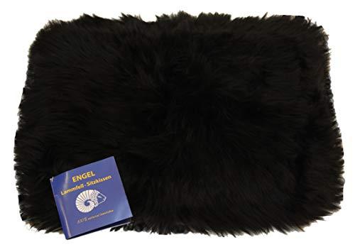 Engel Naturfelle Sitzauflage DIANA-30 aus Lammfell hochwollig rechteckig 30x40cm, schwarz