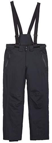 DAFENP Pantalon Ski Homme Salopettes Imperméable Hiver Pantalon Neige Snowboard Softshell Coupe Doublé Polaire Outdoor HXBD05-Black-L