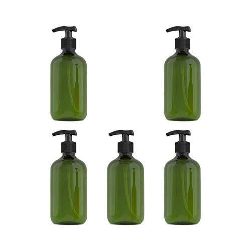 Minkissy 5 Pcs Bouteille de Distributeur de Savon avec Pompe Comptoir Shampooing Lotion Pompe Distributeur Conteneur pour Voyage Salle de Bain Cuisine 300 Ml (Vert Foncé)
