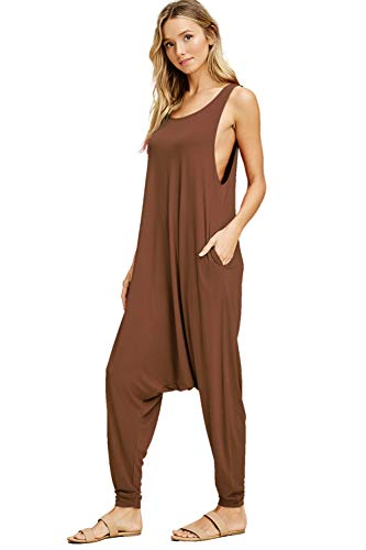 Annabelle Women's Comfy Rayon Solid Color Sleeveless Harem Jumpsuits Charcoal Mid Grey Medium J8004