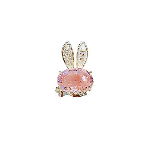 ROTOOY Bonito Broche de Conejo japonés, Pin de Cristal de imitación Femenino, Hebilla antideslumbrante, Accesorios de Ropa, Pin de Cuello pequeño