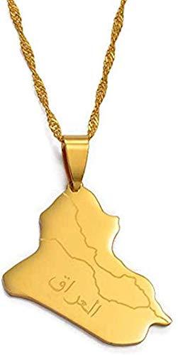Liuqingzhou Co.,ltd Collar República de Irak Mapa Colgante Collar Joyería de Color Dorado Mapa de Irak Collares