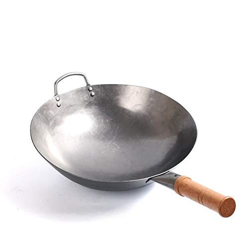 BESTHINKY Wok-Pfanne, 1,8 mm dick Traditionelles chinesisches Geschirr von Hand gehämmert Eisen Wok unbeschichteter Kohlenstoffstahl Antihaft-Topf Rundbodengeschirr mit Holzgriff