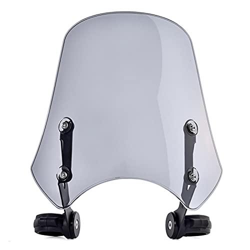 BRIGHTSUN XXshop Universal Motorcycle Windshield Windscreen Airflow Devlectores de Viento Pantalla de Vuelo Parábrisas Ajuste para Harley Dyna SoftAil Accesorios Light Smoke