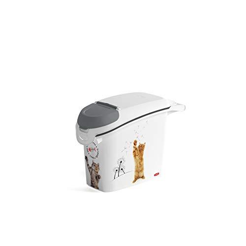 Curver | stapelbarer Futterbehälter, 15 l/6 kg, Love Pets Katze, weiß, 23,2 x 50,3 x 35,5 cm, Kunststoff