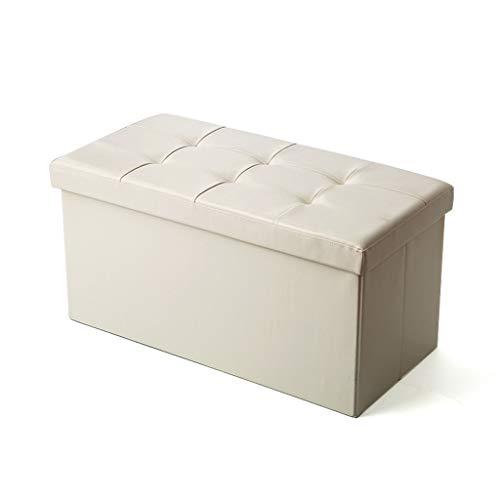 LXQGR Ottoman de Rangement Coffre Cube de Repose-Pieds Tabouret de Café Banc d'Éponge Confortable, Simili Cuir, Noir (Couleur : C)