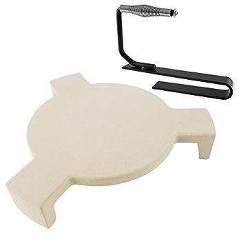 soldbbq Heat Deflector and Plate Setter Lifter Kit for 15  Medium Big Green Egg Grill Smoking Stone Pizza Stone Replacement Parts for Medium Big Green Egg Accessories