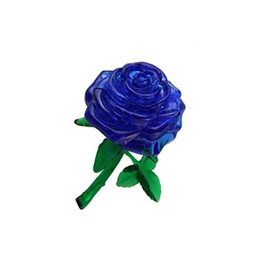 Canjerusof Cristalina Creativa del Rompecabezas 3D Flor De Rose Decoración 44Pieces Puzzle 3D De Cristal Azul Building Blocks
