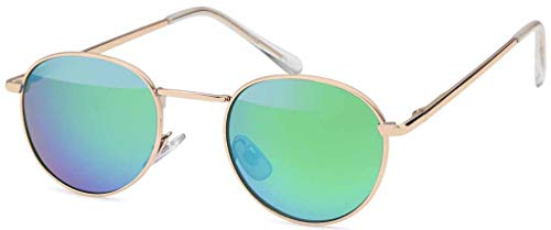styleBREAKER Sonnenbrille in Panto-Form mit runden Flachgläsern und Metall Bügel, Unisex 09020077, Farbe:Gestell Gold/Glas Grün-Blau verspiegelt