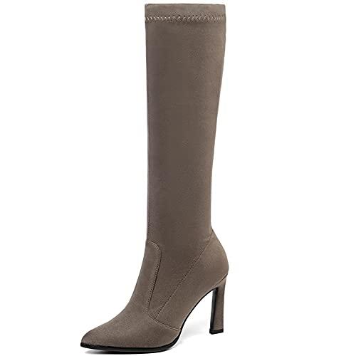 Kozaki do kolan, Kozaki ze stretchem na szpilce, Damskie zamszowe buty na wysokim obcasie ze szpicem, Podszewka z mikrofibry/Krótka pluszowa podszewka (Color : Khaki, Size : 39 EU)