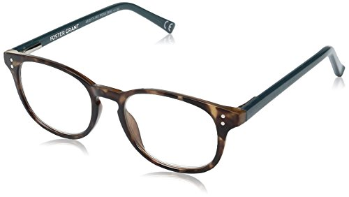 Foster Grant Women's Elodie Round Reading Glasses, Brown Tortoise/Transparent, 59 mm + 2.5