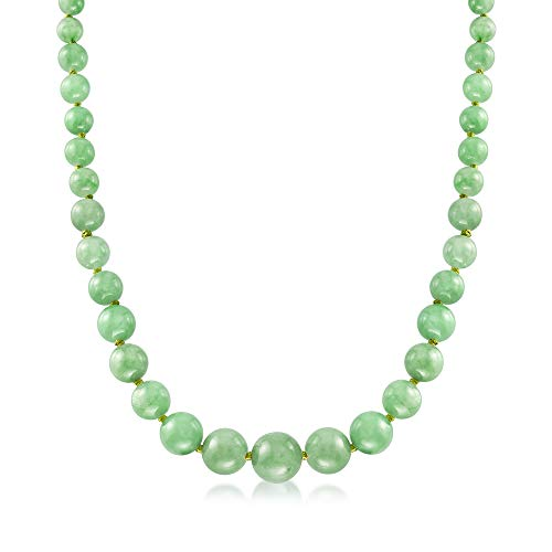 Ross-Simons 6-13mm Graduated Green Jade Bead Necklace With 14kt Yellow Gold. 18 inches