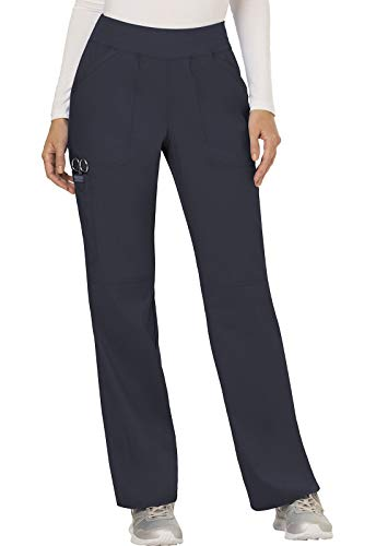 Cherokee Women's Mid Rise Straight Leg Pull-on Pant, Medium Petite, Pewter