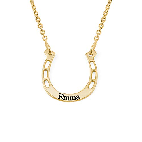 MyNameNecklace Unisex Personalized Horseshoe Necklace -Custom Made Pendant Name or Word -Gold Plated- GP Emma