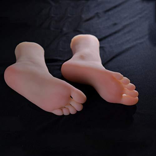 Weibliche Fußfüße Modell Schaufensterpuppe Realistische Ungiftige TPE Latex Geruchslosigkeit Weibliche Display Stehen Damen Sandalen Schuhe Socken Knöchel Ketten Fußfetische,Left