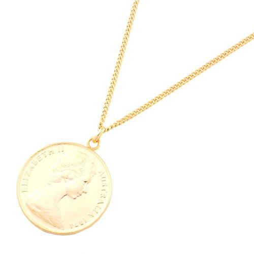 [ジュエリーショップエム] 10セント コイン ネックレス ペンダント エリザベス メンズ レディース オーストラリア リアルコイン 55cm ゴールド n3370-G