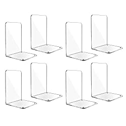 small ELANBALU 8PCS Clear Acrylic Book Holder The L-shaped book holder is non-slip, durable and supports a long-lasting desktop …