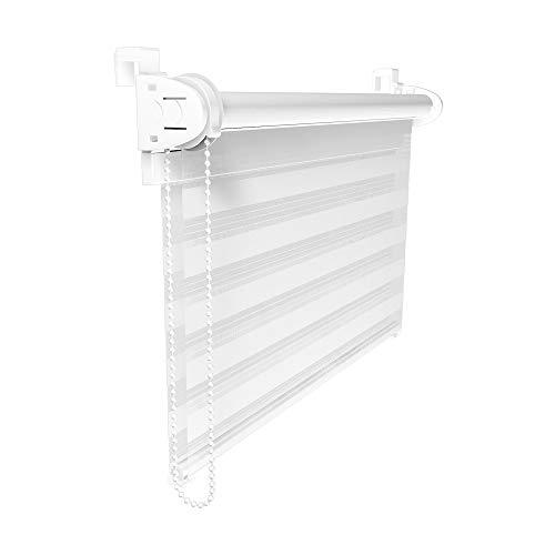 Victoria M. Doppelrollo Klemmfix Duo-Rollo Klemmmontage ohne Bohren für Fenster und Tür Lichtdurchlässig & Verdunkelnd mit Kettenzug, 60 x 150 cm Weiß