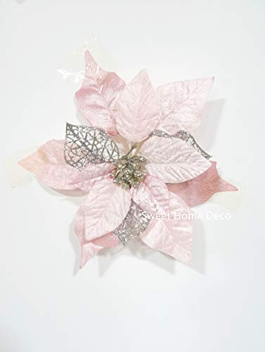 Sweet Home Deco 9''W Silk Shinning Sprakled Poinsettia Artificial Flower Heads (Set of 5) Christmas Decorations (Pink)