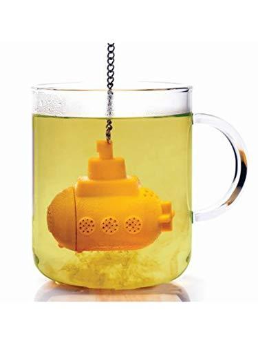 Infusor de té de silicona amarillo con diseño de submarino