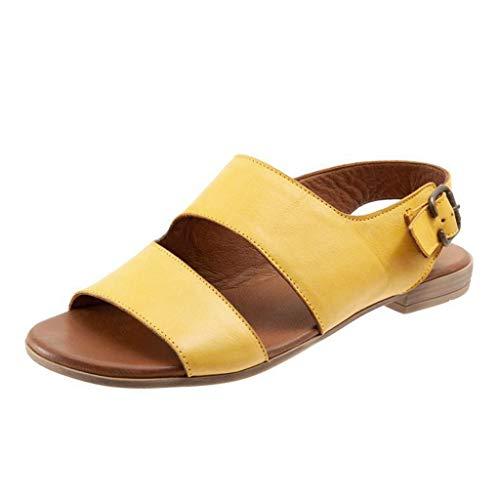 FRAUIT Sandalen Damen Retro flachem Boden Römische Schuhe Pantolette Leder Komfort Soft Fußbett Sommer Schuhe 2er-Riemen