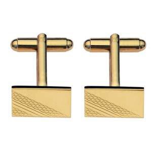 British Jewellery Workshops Boutons de Manchettes 11x17mm en plaqué Or avec chaîne Longue tournée